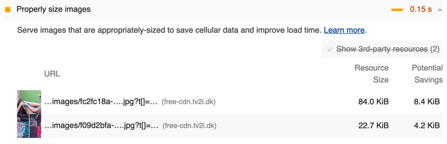 Specifikt problem i Google Lighthouse, foldet ud