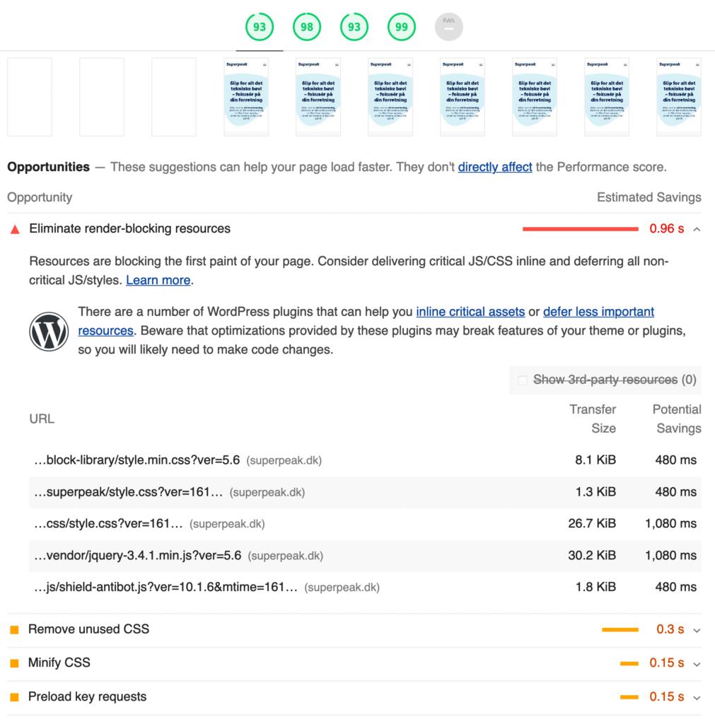 En udvidet Google Lighthouse rapport